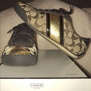 Khaki/Brown/Gold Coach Sneakers